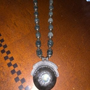 Indian glass necklace hand made great statement